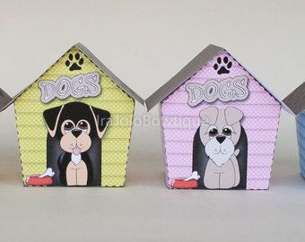 Puppy House Gift box Set, Favor Box Printable for Doggie Birthday, Dog house gift box set