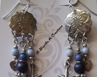 Antiqued Country Style Silver Pierced Earrings