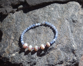 "Opal Tanzanite and Garnet Friendship Bracelet - Gemstone Bracelet - ""BFF"""
