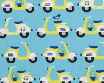 NEW!!!  Organic cotton fabric, scooters, blue, havana, monaluna, 1/4 metre units