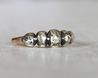 Georgian Rose-cut Diamond 5 stone Ring