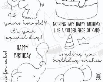 Mama Makes x Tracey Hey - 16 Polymer Stamps - Elephant Birthday