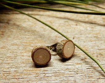 Super Small Pine Rustic Twig Wooden Stud Earrings by Tanja Sova