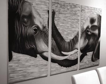 Elephant Affection Black and White Canvas Art