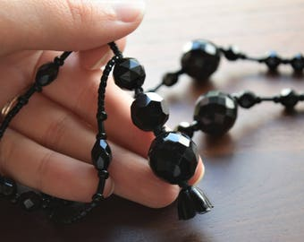 Vintage Victorian Black French Jet Beads and Faceted Glass Mourning Necklace