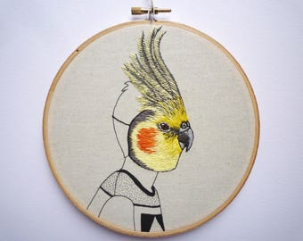 Embroidery Art 'Cockatiel Boy' 6 inch Hoop by Cheese Before Bedtime