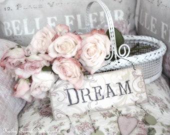 Roses Photography, Shabby Chic Decor, Dreamy Pastel Roses Photo Print, Shabby Chic Roses Art, Baby Girl Nursery Decor, Pink Roses Wall Decor