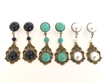00g 0g Dangle Plugs 2g Dangle Gauges 6g 4g Hanging Plugs Wedding Gauges Romantic Vintage Style Ear Plugs Bridal Pearl/Black/Turquoise