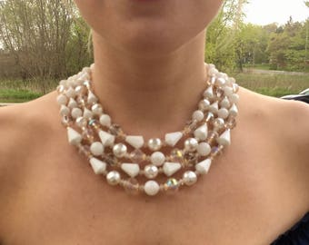 A1 Vintage Necklace 4 Strand Bead 60s Prom Party White VTG Costume Jewelry