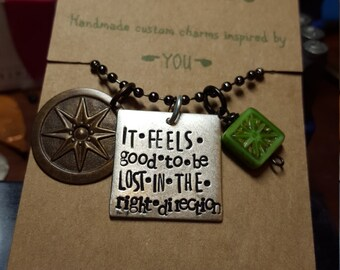 Travel necklace; wanderlust; feels good to be lost quote