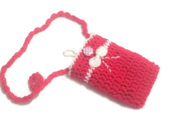 Crochet Red Phone Sleeve with Bow, Neck or Cross Body Strap Lengths, Shoulder iPhone Purse, Hands Free Phone Lanyard, Small Women Gift