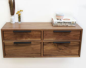 Walnut 4 Drawer Console