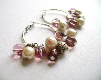 Pink pearl earrings - Princess - delicate feminine pink and antique white earrings