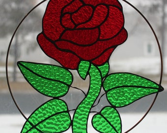 Stained Glass Suncatcher - 10 inch circle - Red Rose