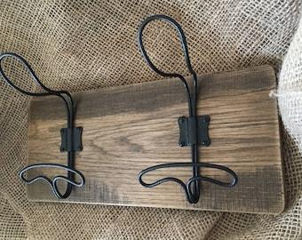 Wire Locker Room Wall Hooks on Reclaimed Wood-Wire Hook- Antique-Coat Rack-Towel Hooks-Coastal-French Style Wall Hooks-Industrial Wall Hooks