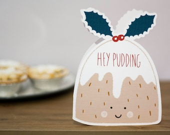 Pudding Christmas card, die cut card, hey pudding