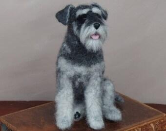 Needle felted dog - miniature schnauzer