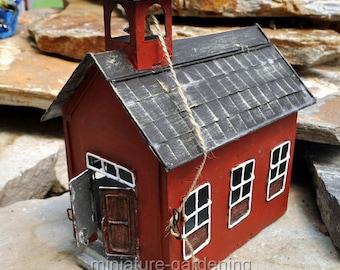 Little Red Schoolhouse for Miniature Garden, Fairy Garden
