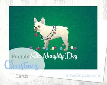 French Bulldog Christmas Card - Digital Download Printable