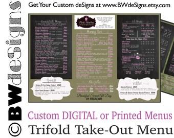 Custom Brochure Menu Design- Take Home Menu- Trifold Design- Restaurant Menu- Cafe Menu- Smoothie Shop Menu- Food Truck Handout Espresso Bar