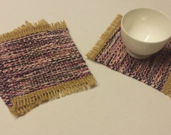 Mug Rugs, upcycled handwoven coasters, pink, lavender, grey, black and beige drink coaster gift set