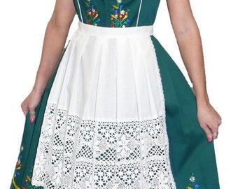 3-Piece Long Green German Dirndl Dress 2 6 10 14 16 18 20 24 S M L XL 2XL