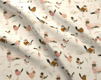 Avian Royalty Fabric - Avian Royalty By Katherine Quinn - Avian Royalty Crown Birds Fancy Leaves Cotton Fabric By The Yard With Spoonflower