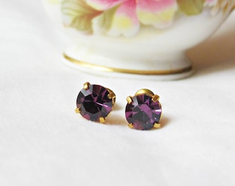 Amethyst Purple Earrings For Women - Ear Studs Gift Jewelry Jewellery Crystal - Vintage Glass Round Circle Chunky Teens