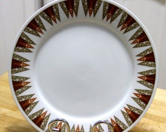 "Vintage 1960's "" Geometric pattern "" Dinner plate -  Fine China from japan"