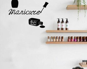 Wall Decal Nail Salon Art Beauty Salon Nail Stylist Nail Art Polish Manicure Woman Gift 1304t