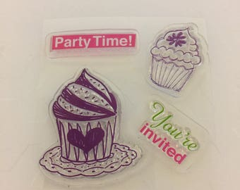Clear mini cling rubber stamps cupcakes
