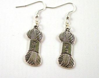 Silver Yarn Earrings - Knitting Earrings - Yarn Earrings - Ball of Wool