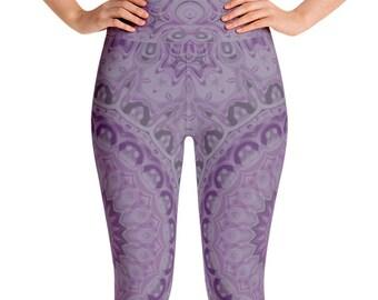 Lavender Leggings High Waist Yoga Pants, Women's Printed Leggings, Purple Mandala Leggings