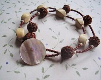 Two Strand Bracelet Prayer Bead Bracelet Wood Bracelet Mother of Pearl Vintage Button Bracelet Boho Style Free Vibe Jewelry