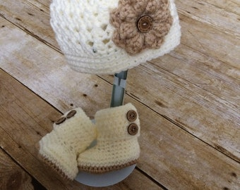 Baby Hat and Booties Spring Set