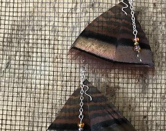 Bronze Turkey Feather Earrings