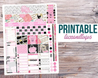 Printable Planner Stickers May Monthly Spread Kit for Erin Condren Life Planner Glam Planning Vertical Horizontal Month View Overview Pastel