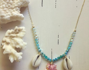"Sunrise Shell x Swarovski Crystal Necklace/18"""