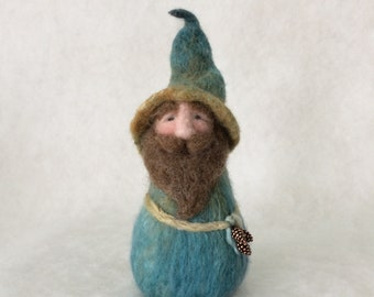 Soft And Silky Feeling Pine Cone Collecting Needle Felted Wool Gnome