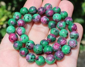 4 Ruby Zoisite beads multicolor round 8 mm * AV37