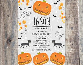 Halloween Birthday Party Invitation For Kids, Printable PDF or Jpeg