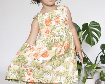 Green White Floral girls Dress, Girls Linen Dress, Todder Summer Dress, Dress with Pocket, Birthday Outfit, Wedding Outfit, Party Dress