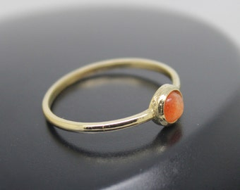 Sunstone Ring, 18k Solid Gold Ring, Thin Gold Ring, Stacking Ring, Stackable Ring, Solitaire Ring, Orange Stone Ring
