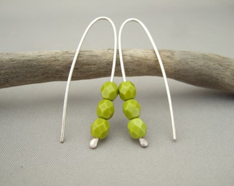 Pea Green Earrings - Chartreuse Czech Glass and Sterling Silver Modern Bead Earrings