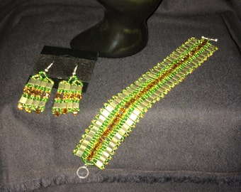 Number 24 Cleopatra style bracelet hand woven by Maine Artist Amber Martin