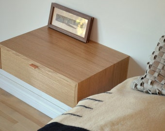 White Oak nightstand set with hand cut dovetailed drawers and leather pull