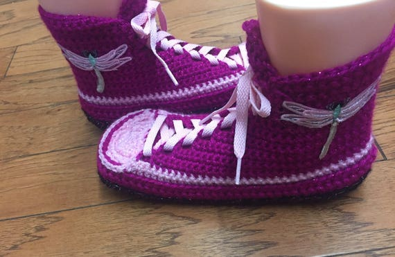 8 dragonfly 196 10 house dragonfly sneakers shoes high pink Sneaker slippers Tennis slippers Shoe Crocheted slippers top Slippers Womens qgAawq1