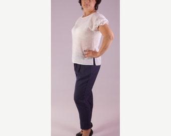 Ruffle top white linen White linen ruffle sleeve top Linen summer blouse Linen short sleeve shirt Ruffle linen blouse