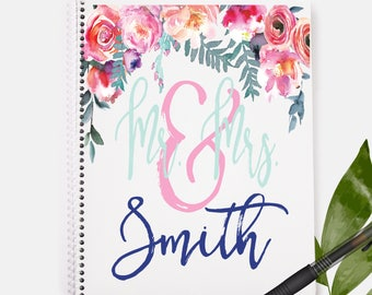Mr and Mrs Notebook | Floral Print | Wedding Notebook | Wedding Gift | Personalized Notebook | Journals and Notebooks | Custom Notebook |