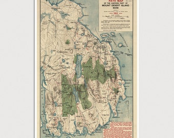 Old Mount Desert Island Map Art Print 1911, Acadia National Park, Antique Map, Archival Reproduction